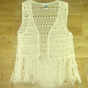 Cute Ivory Crochet Vest